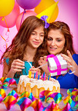 Mom with daughter celebrate birthday