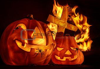 Carved glowing pumpkin
