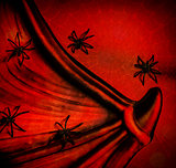 Spiders on red Halloween background
