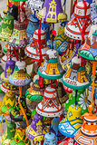 Colorful little painted souvenir bells of Lviv