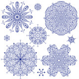 Vector Blue Highly Detailed Snowflakes