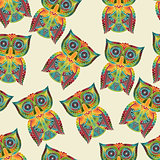 Vector Seamless Pattern with Bright Owls
