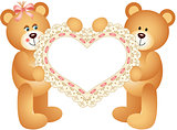 Couple Teddy Bear holding Embroidered Heart