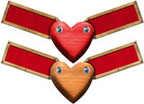 Wood Hearts with Labels for Message