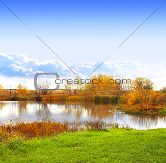 Autumn landscape with a lake