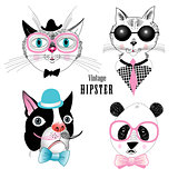 set of animal hipster