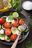salad with tomatoes cucumber and goat cheese