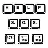Keyboard keys buttons icons - help, s.o.s