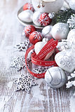 Christmas decorations and gift ribbon