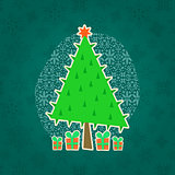Green Christmas Retro Greeting Card