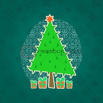 Green Christmas Retro Greeting Card