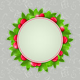 Christmas Holly Card with Round Place for Text
