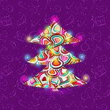 Shiny Christmas Tree Background Invitation Card