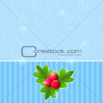 Blue Christmas Invitation Card with Green Leaf and Red Berries O