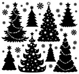 Christmas tree silhouette theme 1