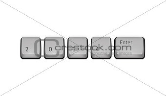 2014 on keyboard and enter key. Vector concept illustration.