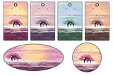 Stickers and labels with pink trees