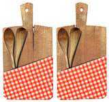 Cutting Board with Ladles and Tablecloth