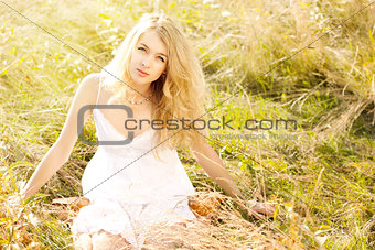 Blonde Woman in Sundress