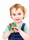 cute girl with finger paint