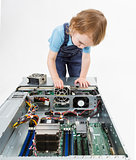 child swapping fan on server