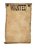 Wanted poster isolated. Wild west background.
