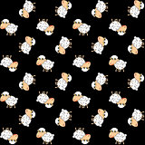 Funny sheeps pattern on a black background