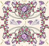 Seamless pastel jewelery necklace kaleidoscope pattern.