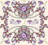 Seamless pastel jewelery necklace kaleidoscope pattern.
