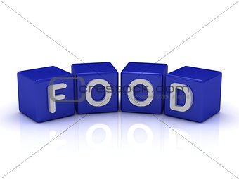 FOOD word on blue cubes