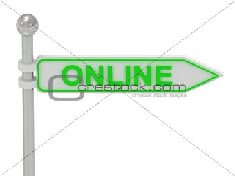 "3d rendering of sign with green ""Online"""
