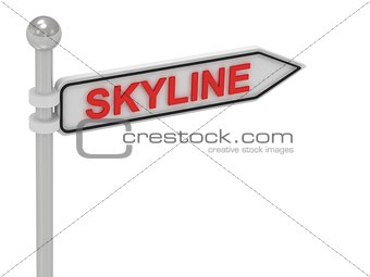 SKYLINE arrow sign with letters