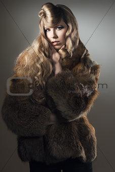 fashion woman with elegant fur