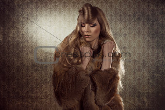 sexy fashion girl with fur