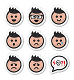 Man or boy with spiky hair faces icons set