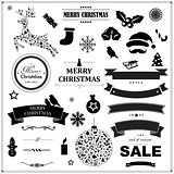 Set Of Vintage Black Christmas Symbols And Ribbons