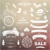 Set Of Vintage Christmas Symbols And Ribbons