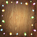 Wooden Background Color Bulb Garland