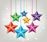 vector colorful christmas  stars