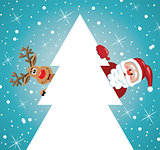 vector holiday  santa claus and reindeer with christmas tree