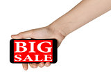 female teen hands showing mobile phone with sale offer