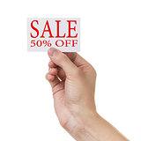 adult man hand holding card with sale promotion words