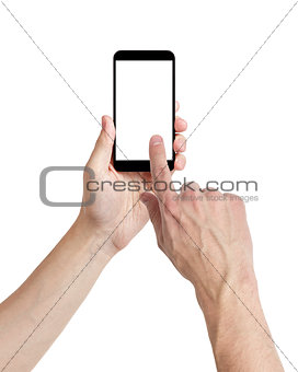 adult man hands using mobile phone with white screen