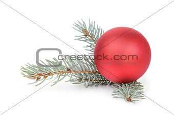 blue spruce twig with christmas ball