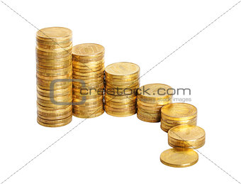 business chart is made from coins isolated over white