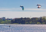 Pair of kitesurfers in Croatia