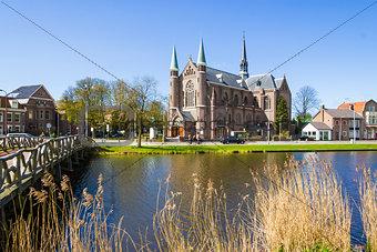 bridge to church, Alkmaar town, Holland, the Netherlands