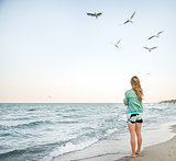 Young Girl at Beach are Feeding Seagulls