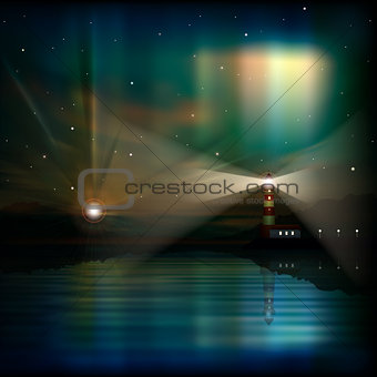 abstract background with lighthouse