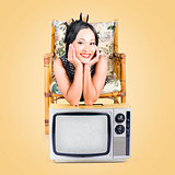 Smiling beautiful woman at rest on old television